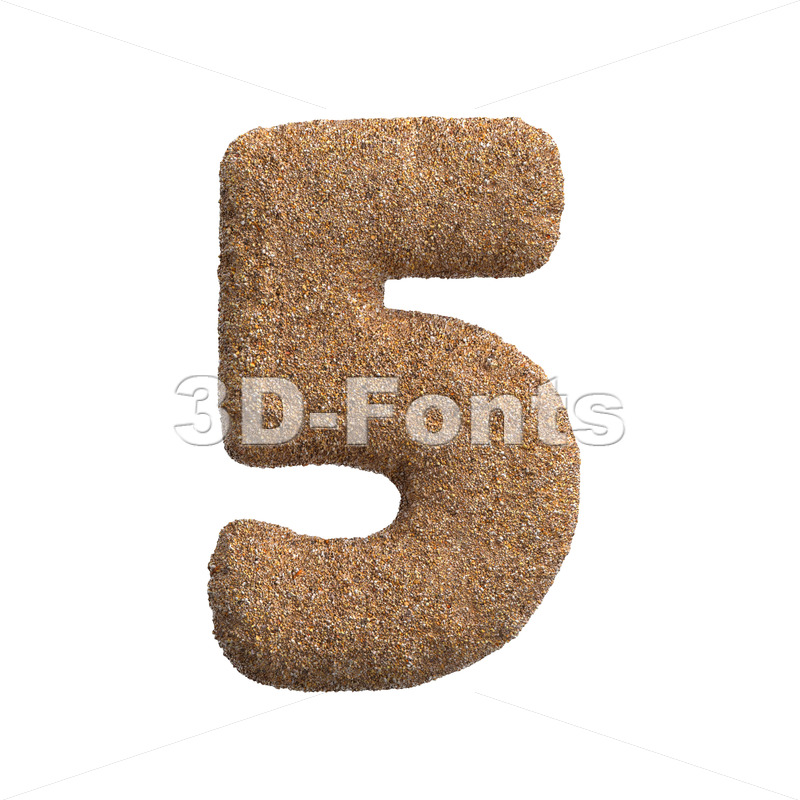 Sand digit 5 -  3d number - 3D Fonts Collections | Top Quality Letters, Numbers and Symbols !