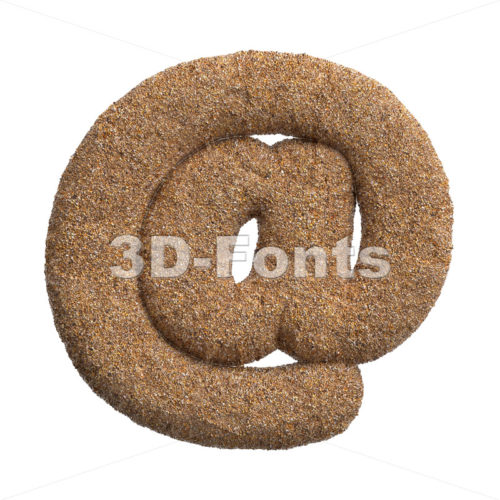 Sand at sign - 3d Arobase symbol - 3D Fonts Collections | Top Quality Letters, Numbers and Symbols !