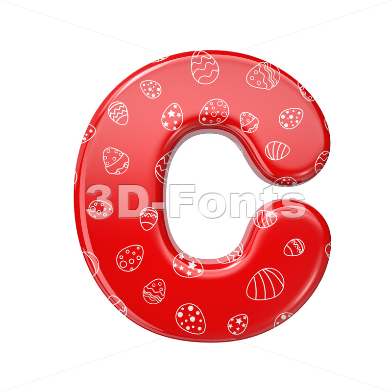 3d Easter egg font C - Capital 3d letter - 3D Fonts Collections   Top Quality Letters, Numbers and Symbols !