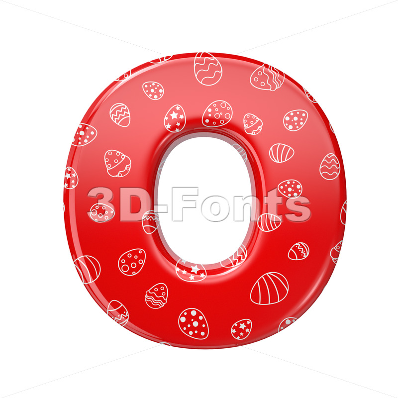 3d red and white celebration Upper-case letter O - Large 3d font - 3D Fonts Collections | Top Quality Letters, Numbers and Symbols !