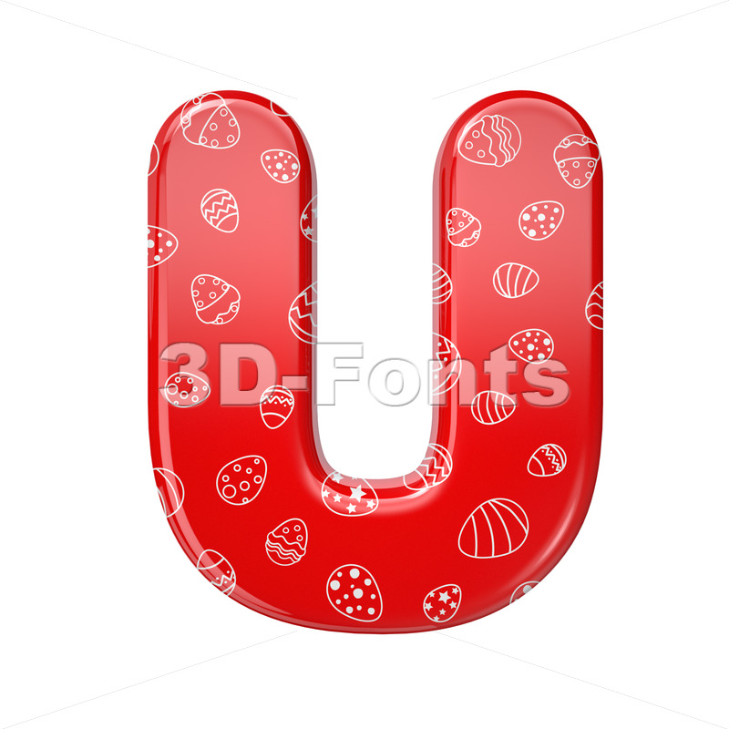 Easter egg letter U - Capital 3d font - 3D Fonts Collections | Top Quality Letters, Numbers and Symbols !