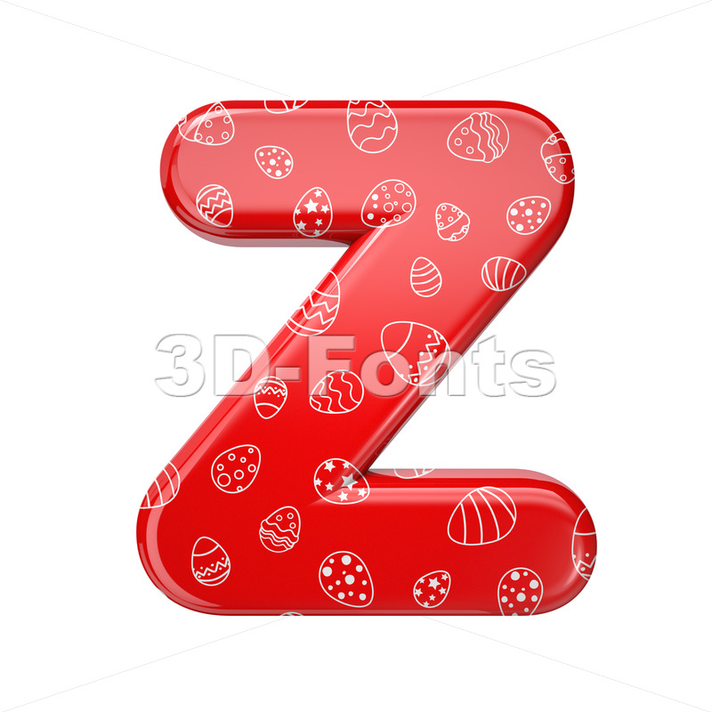 Easter alphabet letter Z - Upper-case 3d font - 3D Fonts Collections | Top Quality Letters, Numbers and Symbols !