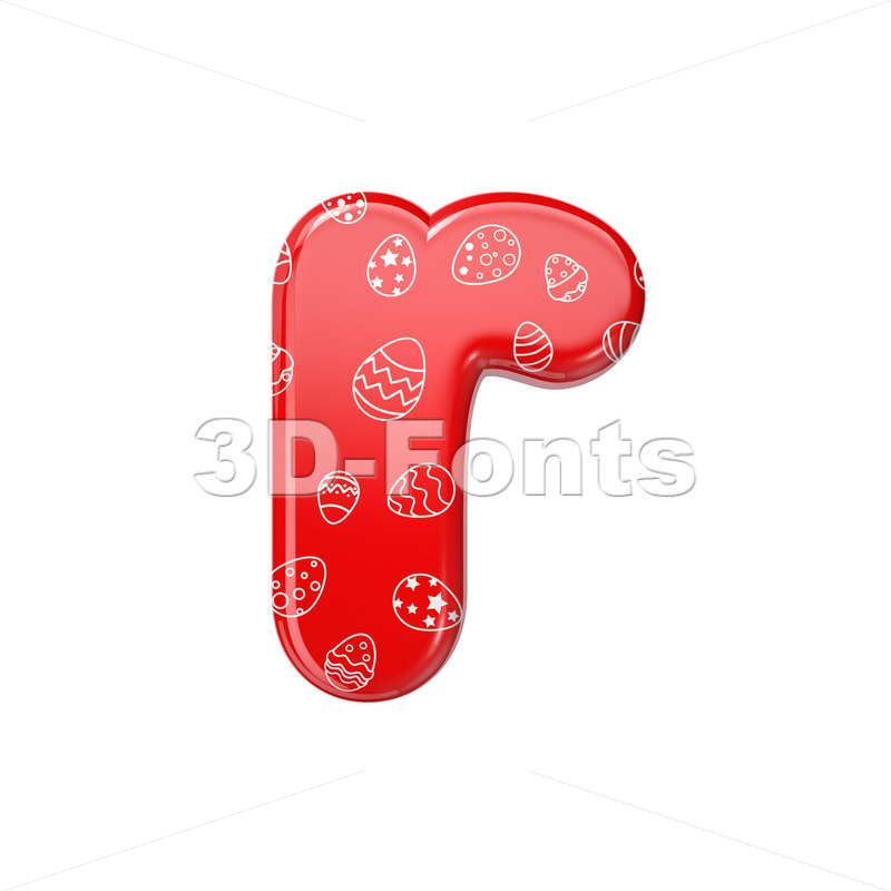 Small Easter egg character R - Lower-case 3d letter - 3D Fonts Collections   Top Quality Letters, Numbers and Symbols !