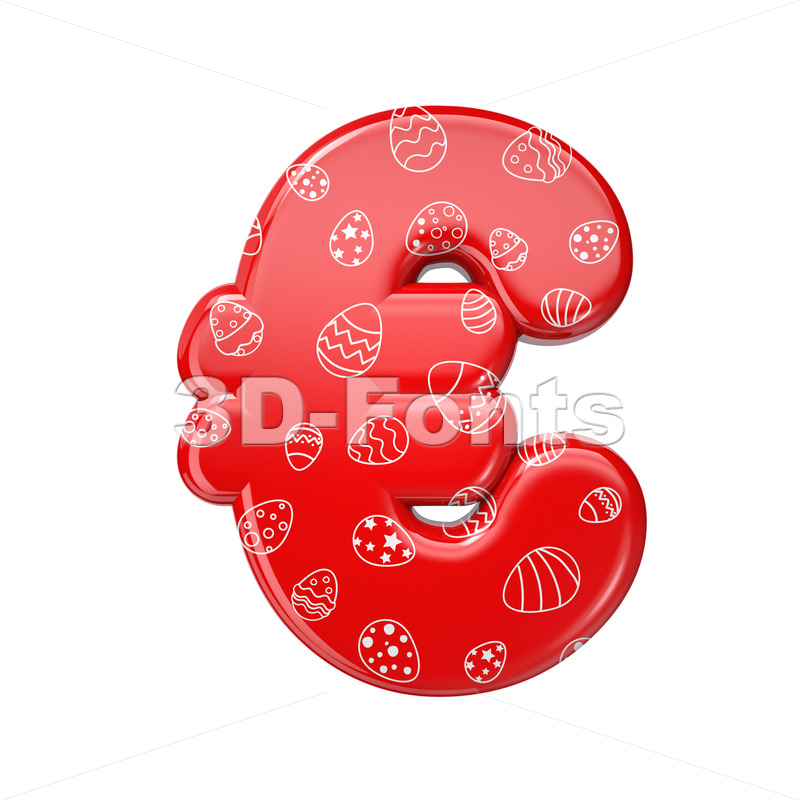 Easter egg euro currency sign - 3d Business symbol - 3D Fonts Collections | Top Quality Letters, Numbers and Symbols !