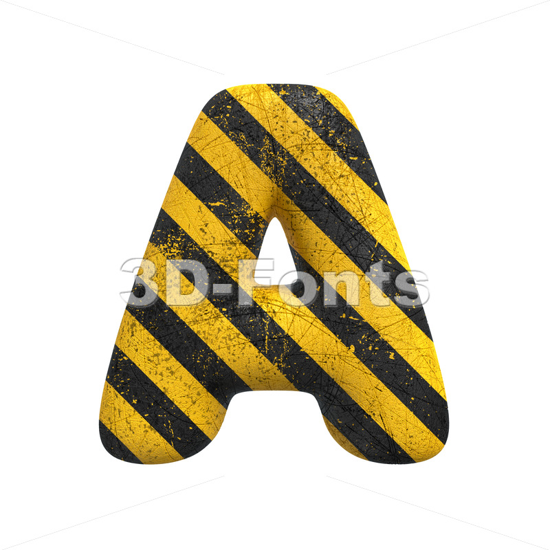 Danger letter A - Capital 3d character - 3D Fonts Collections | Top Quality Letters, Numbers and Symbols !