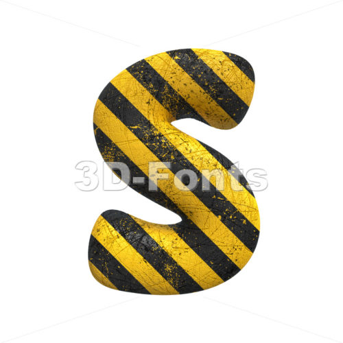 Danger font S - Uppercase 3d letter - 3D Fonts Collections | Top Quality Letters, Numbers and Symbols !