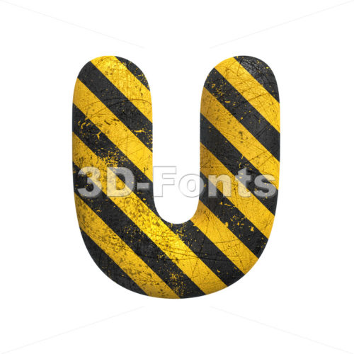 Danger letter U - Capital 3d font - 3D Fonts Collections | Top Quality Letters, Numbers and Symbols !