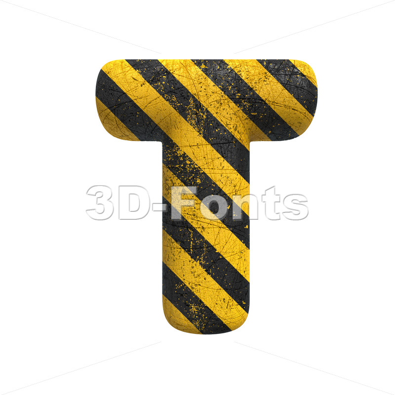 caution character T - Uppercase 3d letter - 3D Fonts Collections | Top Quality Letters, Numbers and Symbols !