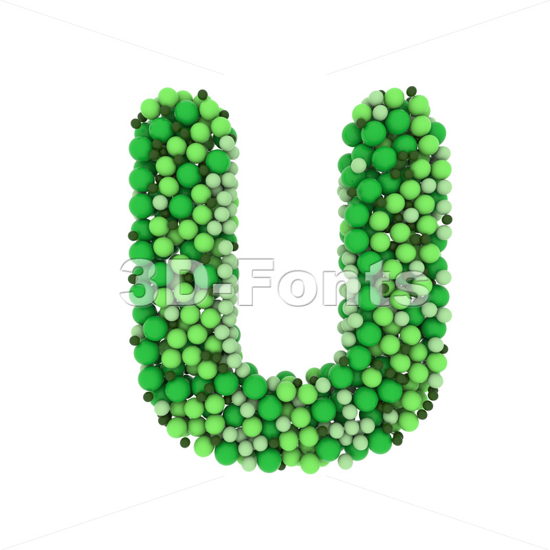 Green balls letter U - Capital 3d font - 3D Fonts Collections | Top Quality Letters, Numbers and Symbols !