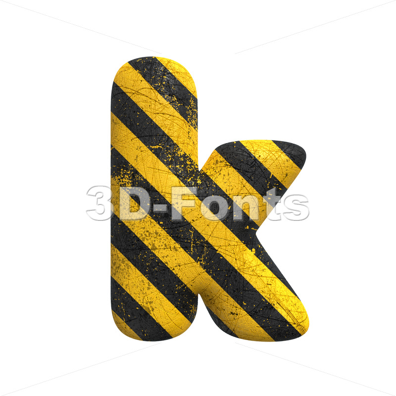 Lower-case caution character K - Small 3d letter - 3D Fonts Collections | Top Quality Letters, Numbers and Symbols !