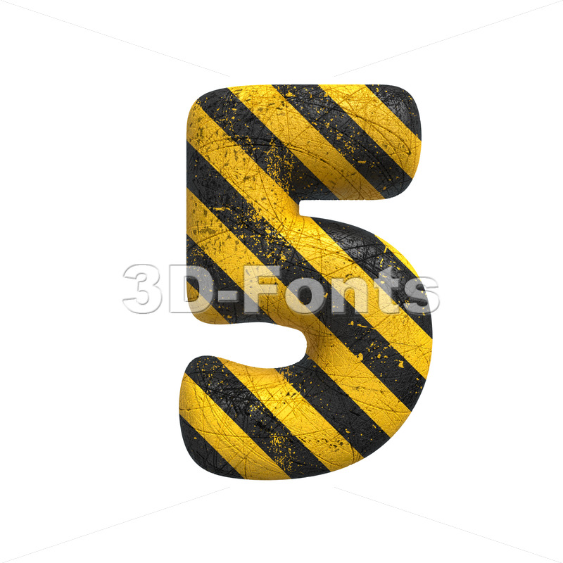 Danger digit 5 -  3d number - 3D Fonts Collections   Top Quality Letters, Numbers and Symbols !