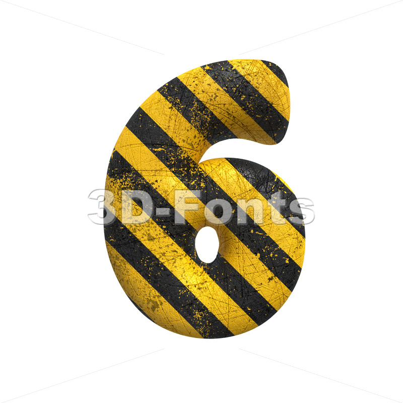 Danger number 6 -  3d digit - 3D Fonts Collections | Top Quality Letters, Numbers and Symbols !