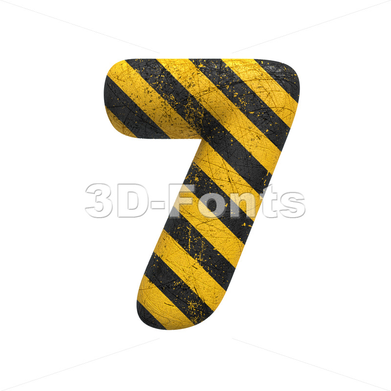 Danger digit 7 -  3d number - 3D Fonts Collections   Top Quality Letters, Numbers and Symbols !