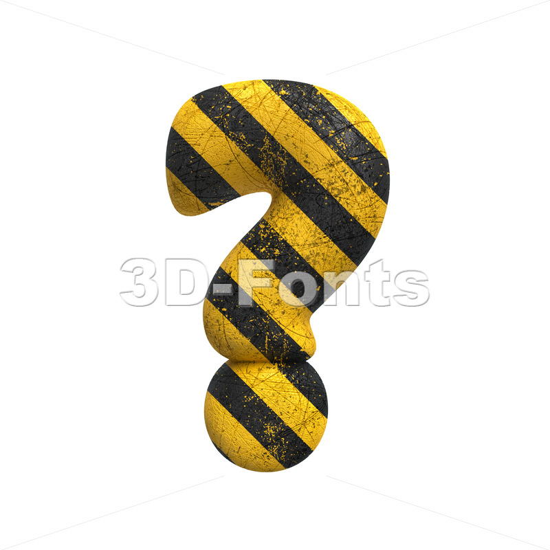 Danger interrogation point - 3d  sign - 3D Fonts Collections | Top Quality Letters, Numbers and Symbols !