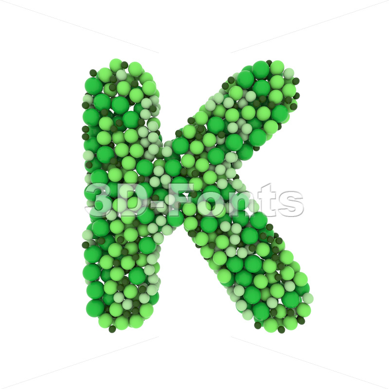 Uppercase Green balls letter K - Capital 3d font - 3D Fonts Collections   Top Quality Letters, Numbers and Symbols !
