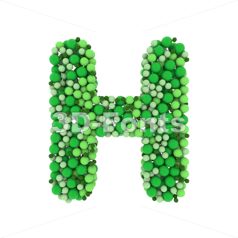 Green balls 3d letter H - Upper-case 3d character - 3D Fonts Collections | Top Quality Letters, Numbers and Symbols !