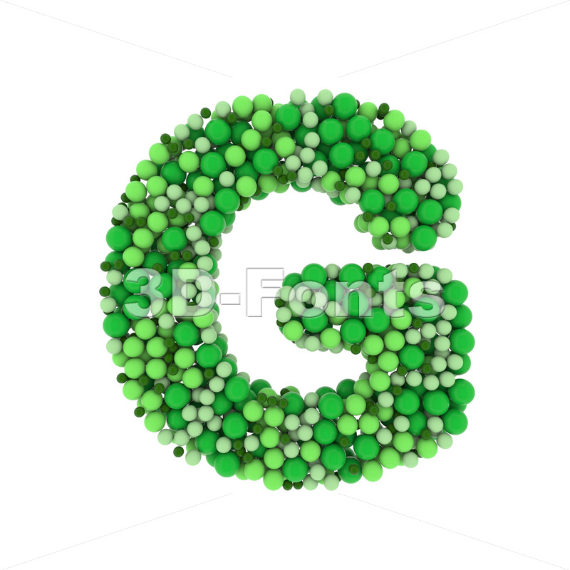 Uppercase Green balls character G - Capital 3d font - 3D Fonts Collections | Top Quality Letters, Numbers and Symbols !