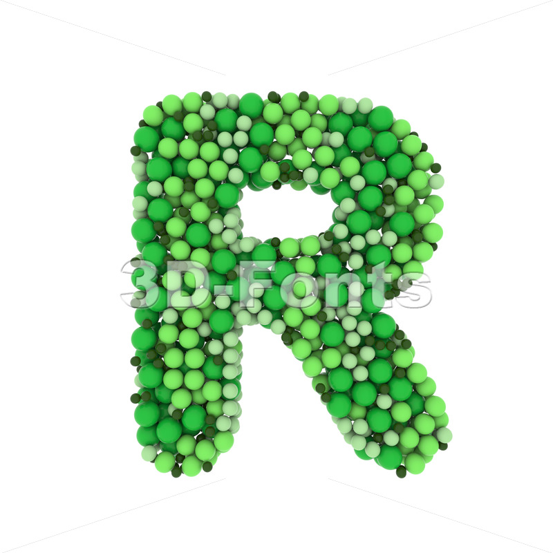 green bubbles letter R - Uppercase 3d font - 3D Fonts Collections | Top Quality Letters, Numbers and Symbols !
