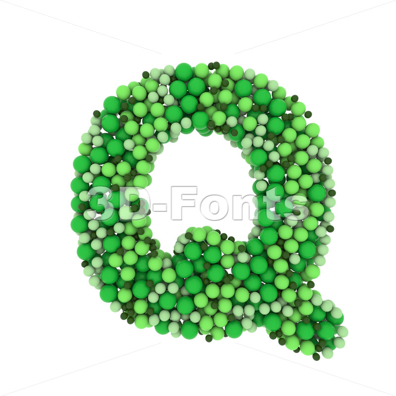 green bubbles font Q - Upper-case 3d character - 3D Fonts Collections | Top Quality Letters, Numbers and Symbols !