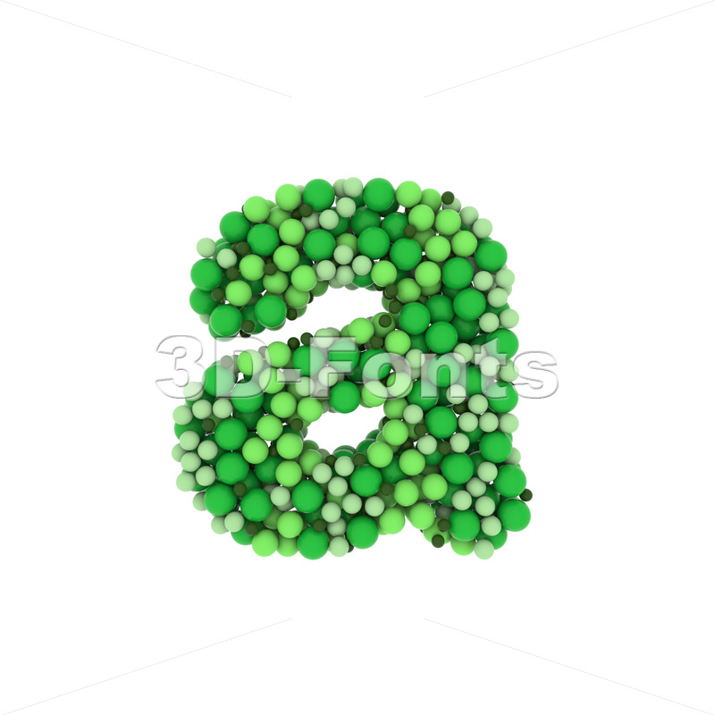 Green balls font A - Lowercase 3d letter - 3D Fonts Collections | Top Quality Letters, Numbers and Symbols !
