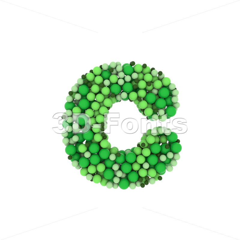 Small Green balls font C - Lowercase 3d character - 3D Fonts Collections | Top Quality Letters, Numbers and Symbols !
