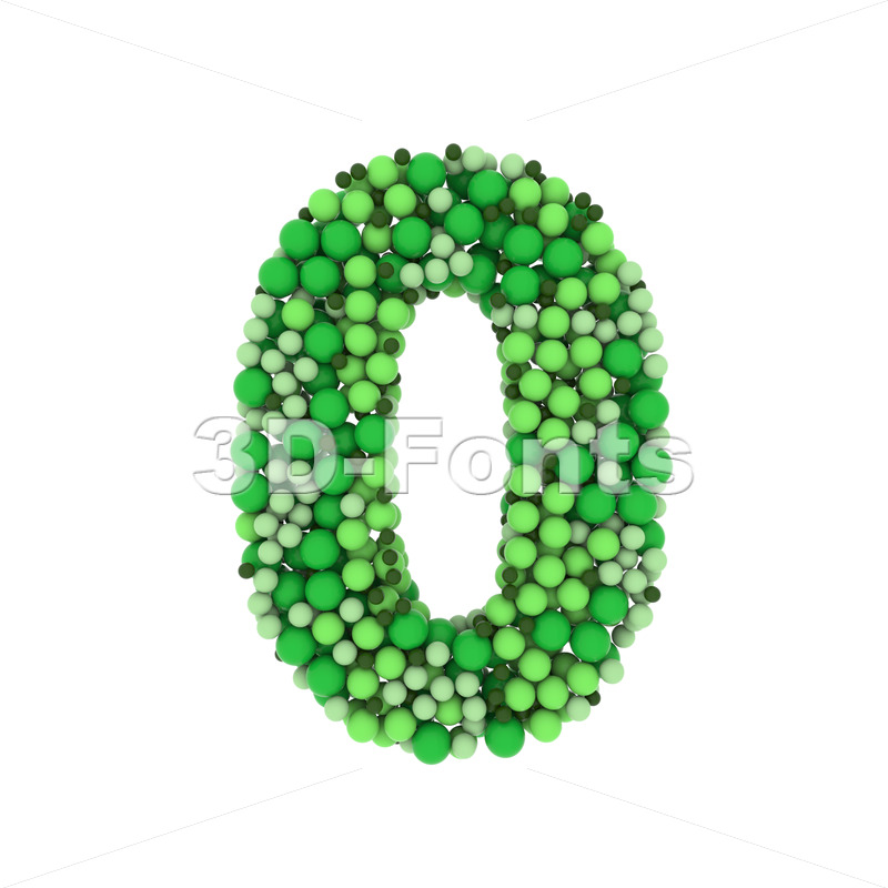 Green balls number 0 -  3d digit - 3D Fonts Collections   Top Quality Letters, Numbers and Symbols !