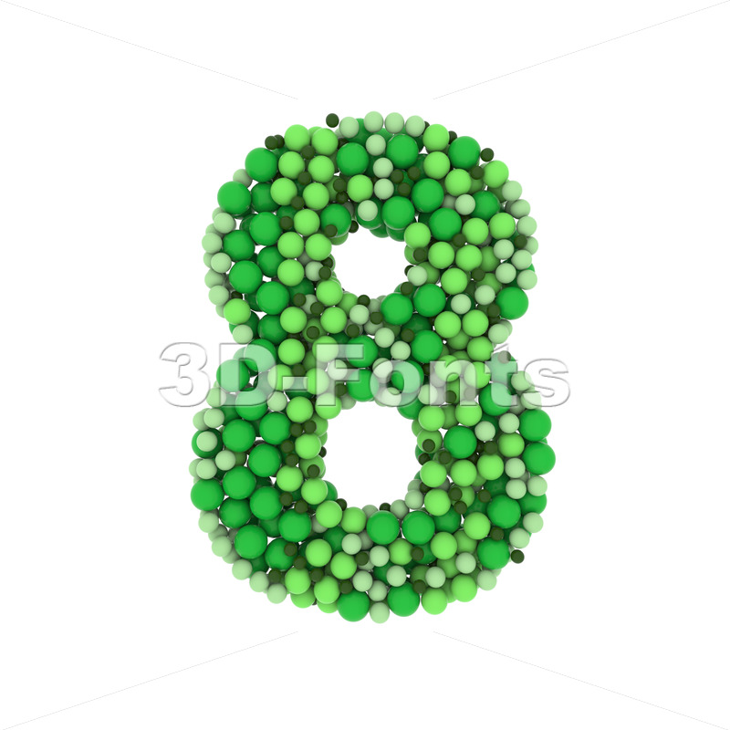 Green balls number 8 -  3d digit - 3D Fonts Collections | Top Quality Letters, Numbers and Symbols !