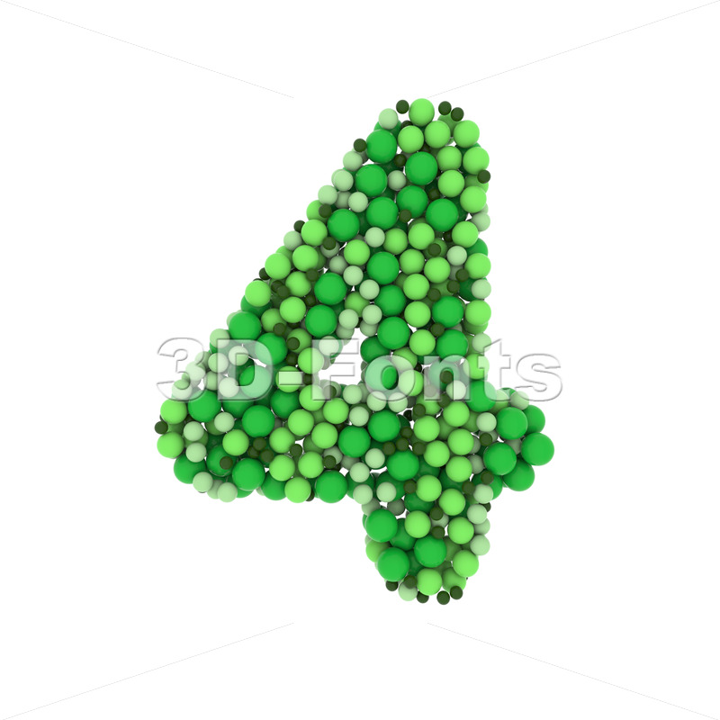 Green balls number 4 -  3d digit - 3D Fonts Collections | Top Quality Letters, Numbers and Symbols !
