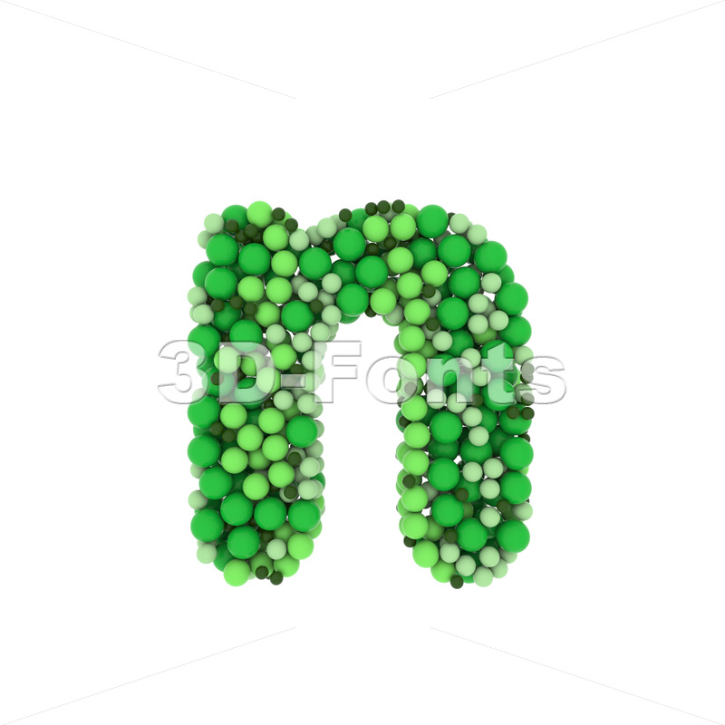 Lower-case Green balls letter N - Small 3d font - 3D Fonts Collections | Top Quality Letters, Numbers and Symbols !