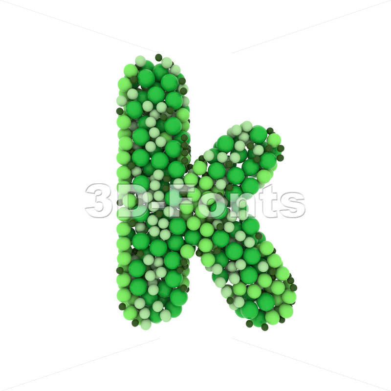 Lower-case colored marbles character K - Small 3d letter - 3D Fonts Collections | Top Quality Letters, Numbers and Symbols !