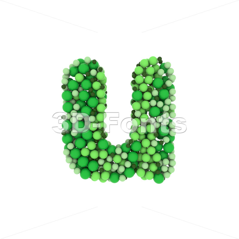 green bubbles alphabet character U - Small 3d letter - 3D Fonts Collections | Top Quality Letters, Numbers and Symbols !