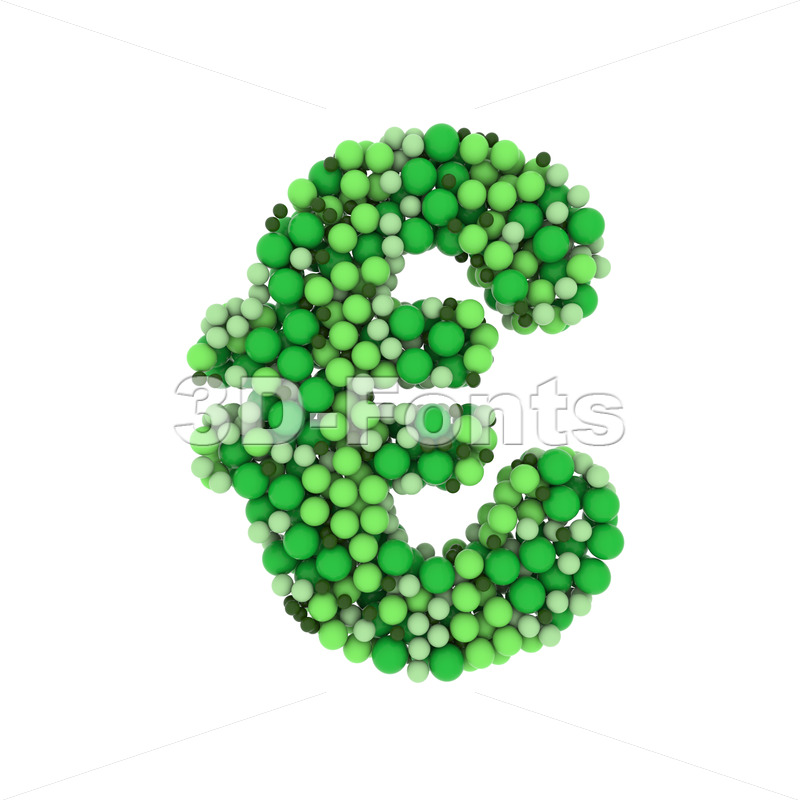 Green balls euro currency sign - 3d Business symbol - 3D Fonts Collections | Top Quality Letters, Numbers and Symbols !
