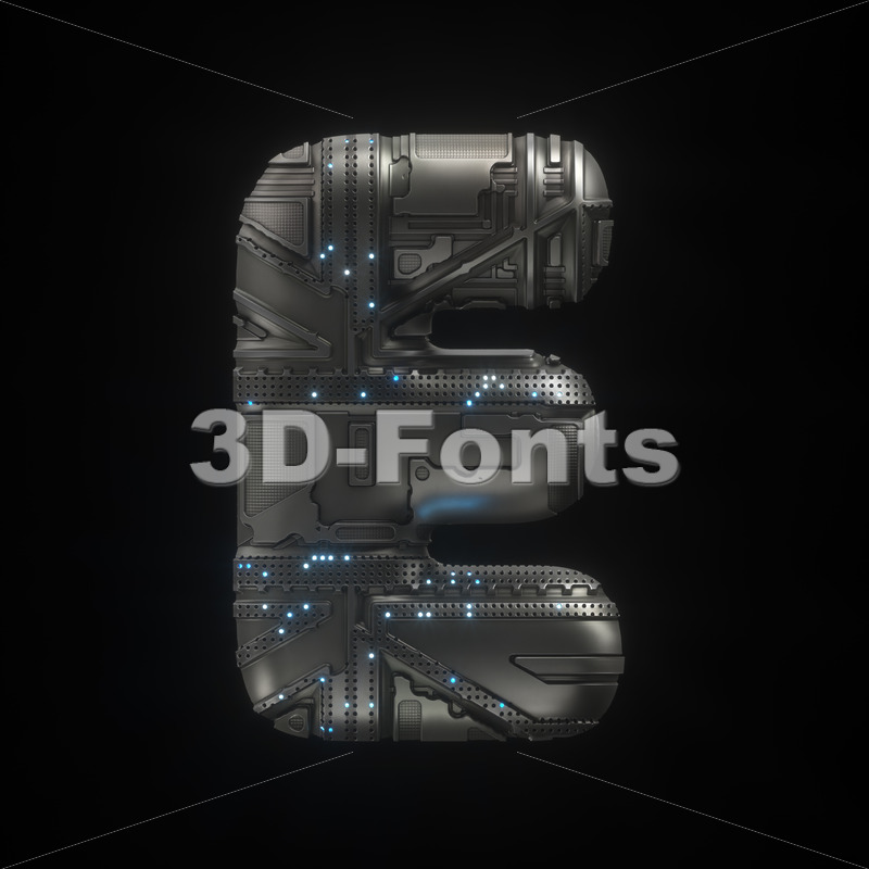 futuristic character E - Capital 3d letter - 3D Fonts Collections | Top Quality Letters, Numbers and Symbols !