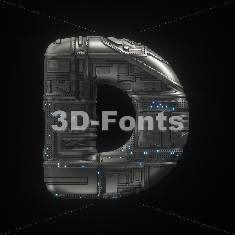 futuristic font D - Capital 3d character - 3D Fonts Collections | Top Quality Letters, Numbers and Symbols !