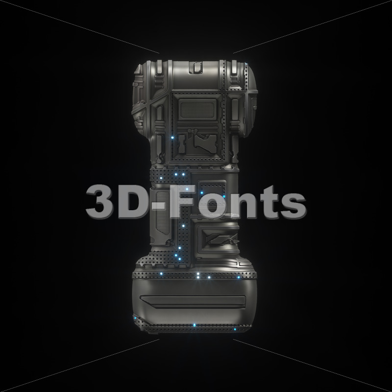 Uppercase futuristic font I - Capital 3d letter - 3D Fonts Collections | Top Quality Letters, Numbers and Symbols !