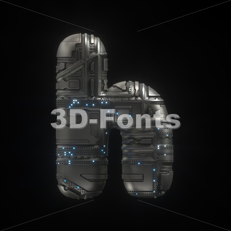 spaceship font H - Lower-case 3d letter - 3D Fonts Collections | Top Quality Letters, Numbers and Symbols !