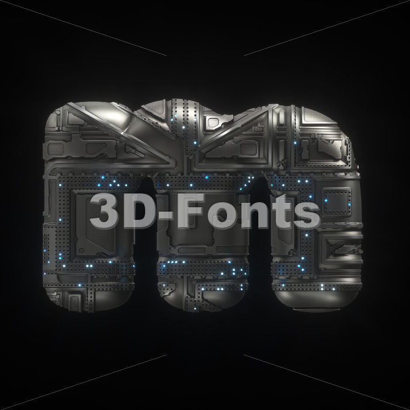 futuristic 3d font M - Lowercase 3d letter - 3D Fonts Collections | Top Quality Letters, Numbers and Symbols !