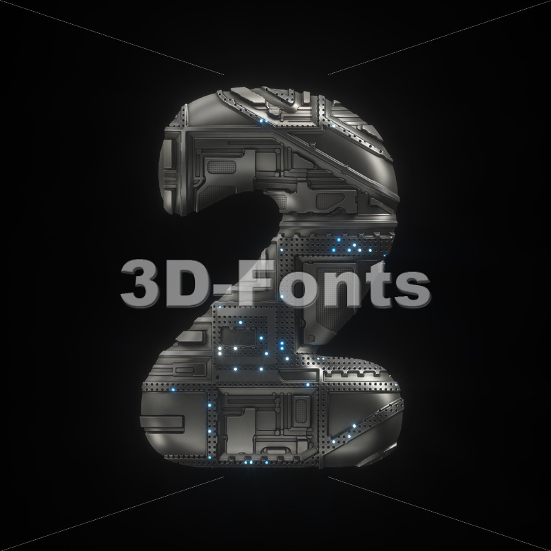 Sci-Fi number 2 -  3d digit - 3D Fonts Collections   Top Quality Letters, Numbers and Symbols !
