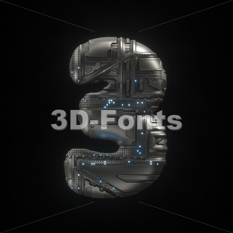 Sci-Fi digit 3 -  3d number - 3D Fonts Collections | Top Quality Letters, Numbers and Symbols !