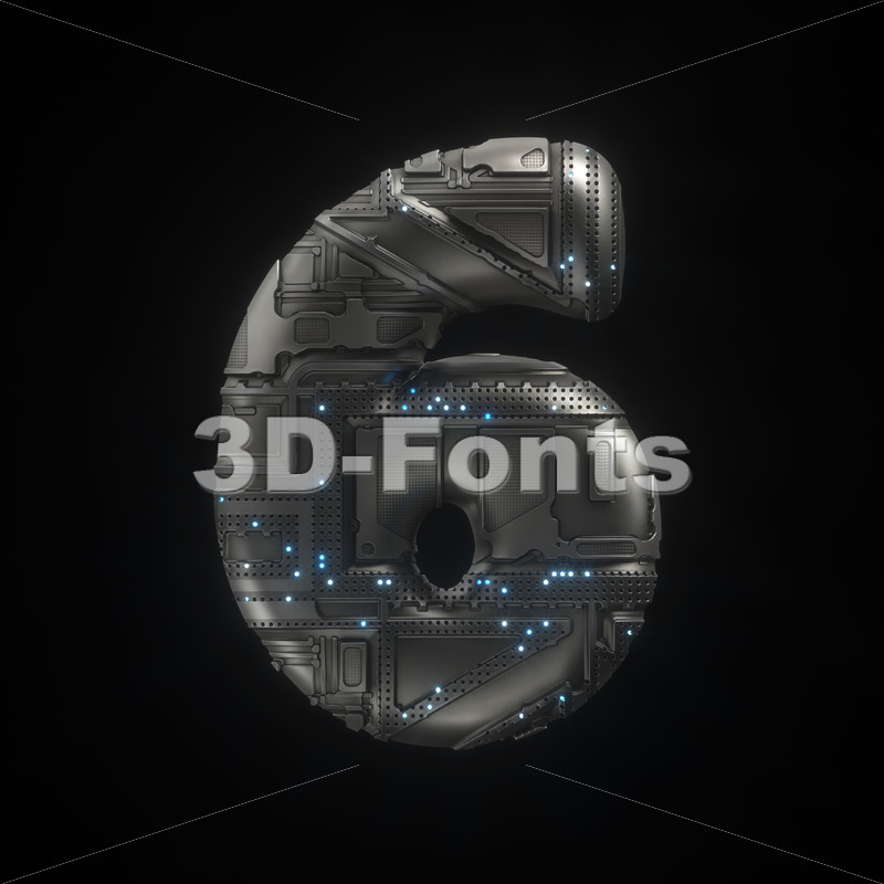 Sci-Fi number 6 -  3d digit - 3D Fonts Collections | Top Quality Letters, Numbers and Symbols !