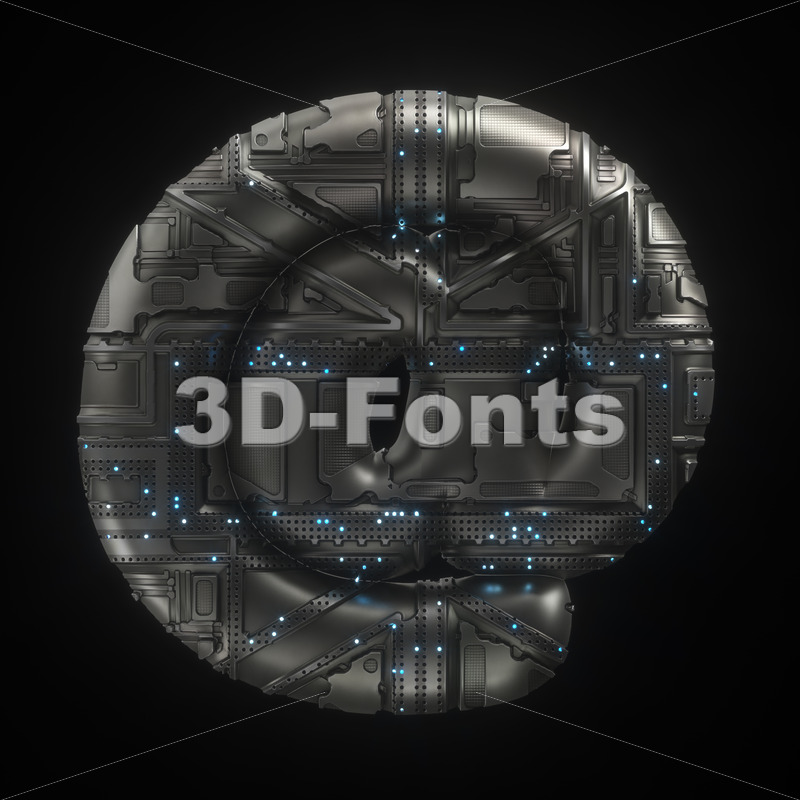Sci-Fi at sign - 3d Arobase symbol - 3D Fonts Collections | Top Quality Letters, Numbers and Symbols !