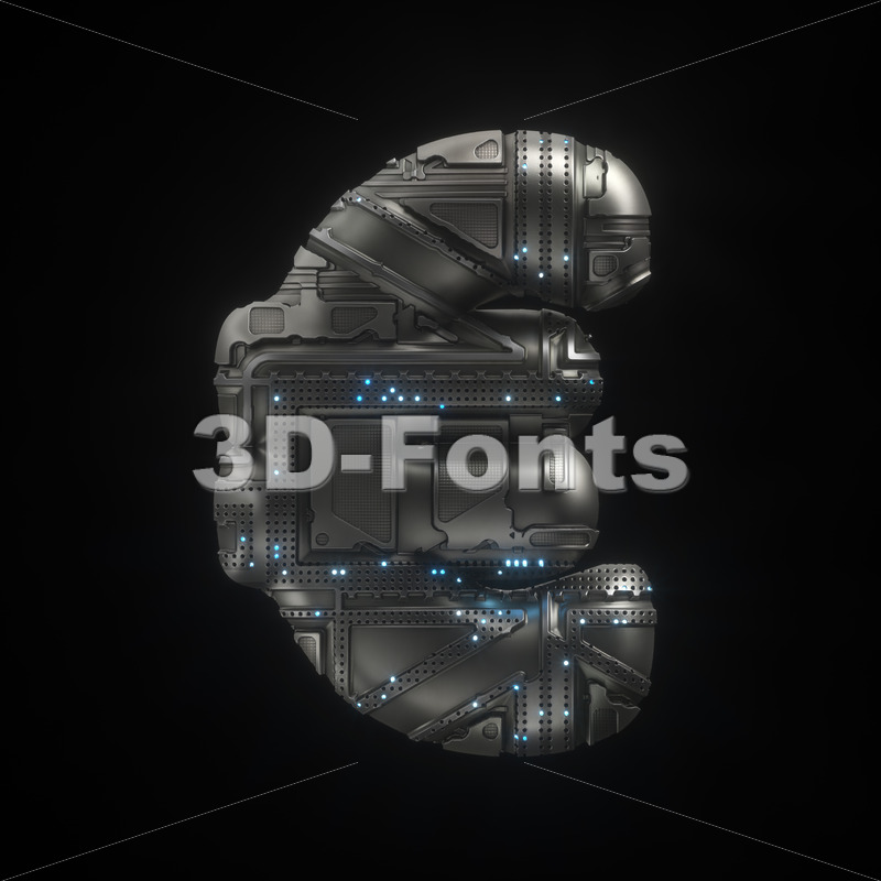 Sci-Fi euro currency sign - 3d Business symbol - 3D Fonts Collections   Top Quality Letters, Numbers and Symbols !