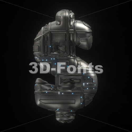 Sci-Fi dollar currency sign - 3d Money symbol - 3D Fonts Collections | Top Quality Letters, Numbers and Symbols !