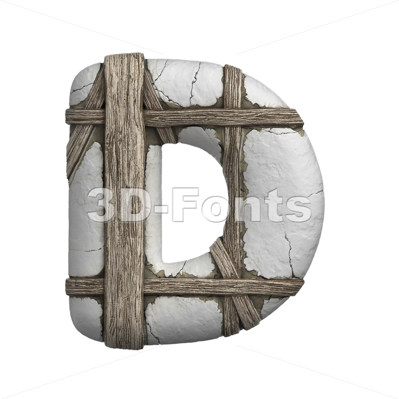 plastered beam font D - Capital 3d character - 3D Fonts Collections | Top Quality Letters, Numbers and Symbols !