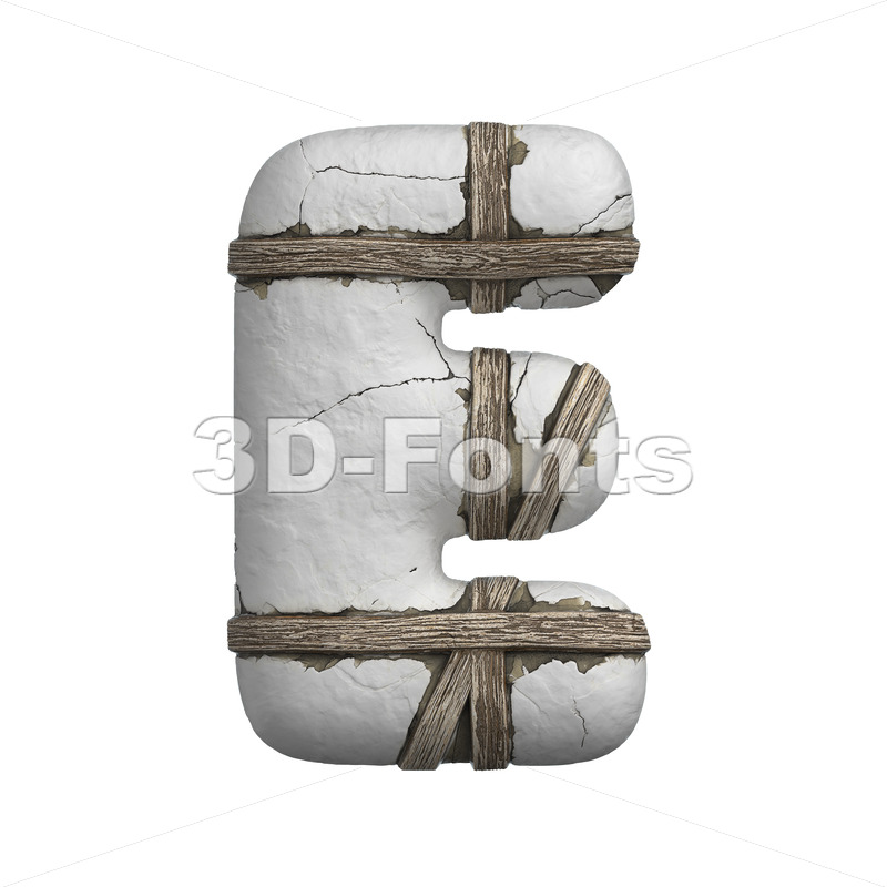plastered beam character E - Capital 3d letter - 3D Fonts Collections   Top Quality Letters, Numbers and Symbols !