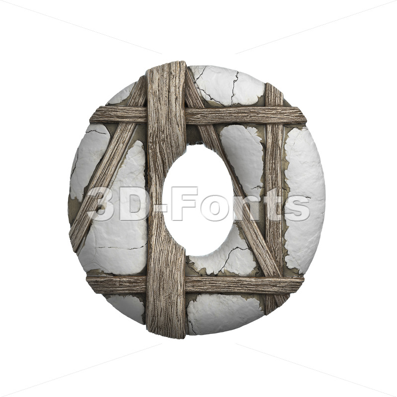 3d timbered Upper-case letter O - Large 3d font - 3D Fonts Collections | Top Quality Letters, Numbers and Symbols !