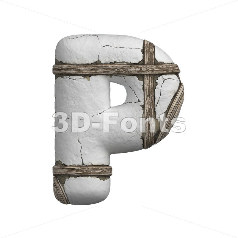Upper-case plastered beam character P - Capital 3d font - 3D Fonts Collections | Top Quality Letters, Numbers and Symbols !