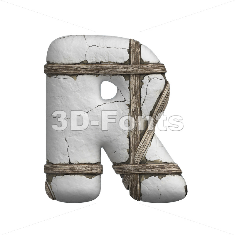plastered beam letter R - Uppercase 3d font - 3D Fonts Collections | Top Quality Letters, Numbers and Symbols !
