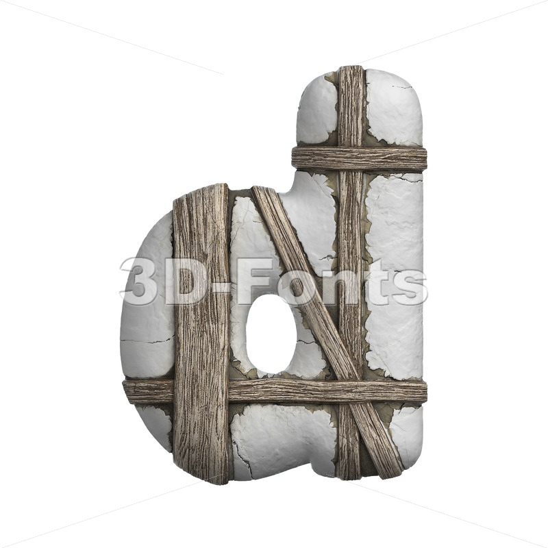 timbered alphabet letter D - Lowercase 3d font - 3D Fonts Collections | Top Quality Letters, Numbers and Symbols !