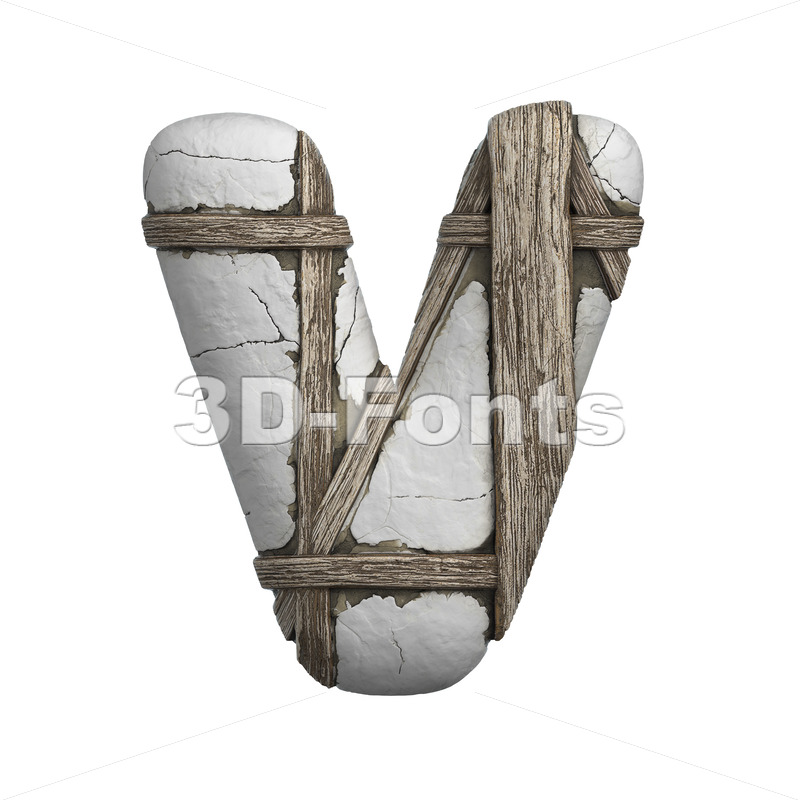 Capital plastered letter V - Upper-case 3d character - 3D Fonts Collections | Top Quality Letters, Numbers and Symbols !